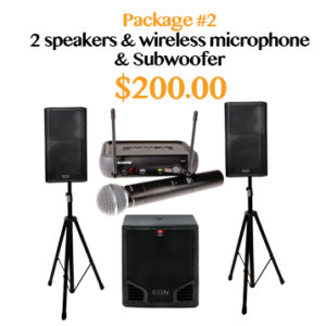 powered speakers with subwoofer and wireless microphone