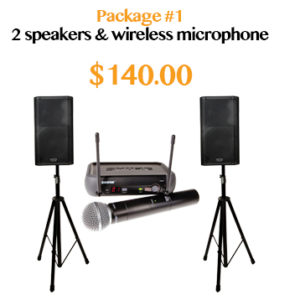 powered speakers wireless microphone rental